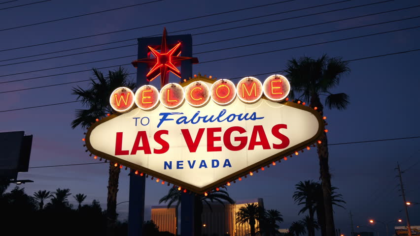 High quality video of welcome to fabulous Las Vegas Sign at night in 4K | Shutterstock HD Video #28196449