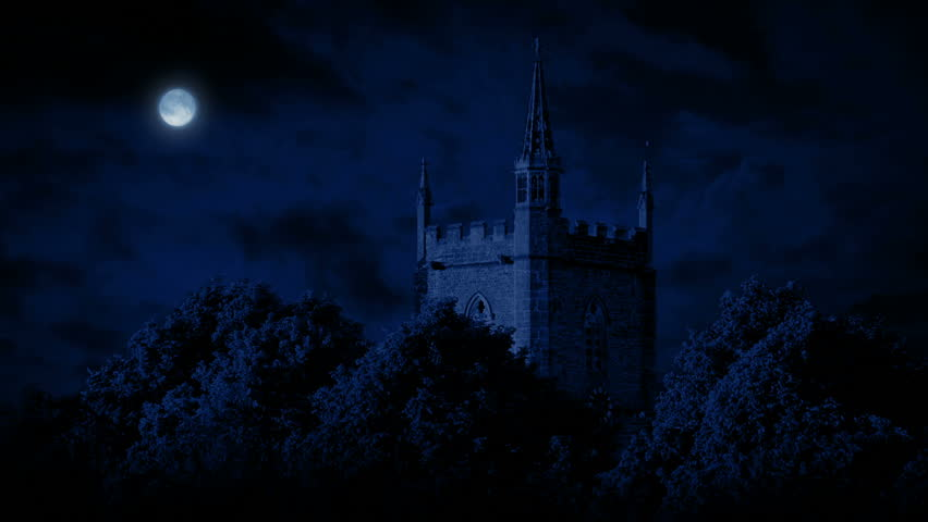 Moon Above Old Church Building   Shutterstock HD Video #28249831
