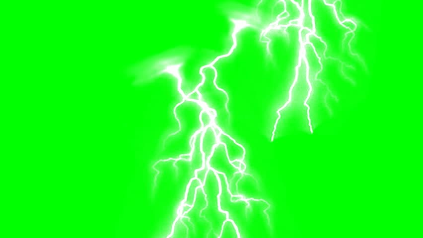 Lighting strikes on green screen background animation. Thunderstorm footage video.
