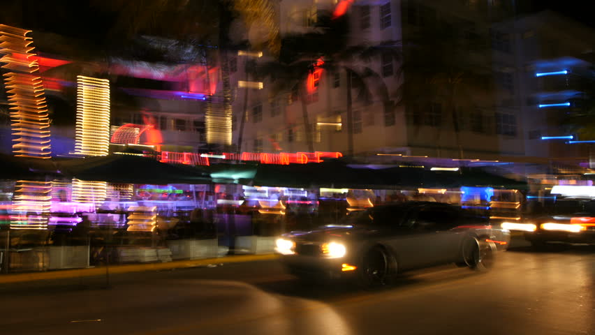 Miami Beach colorful blurred Drive By at night