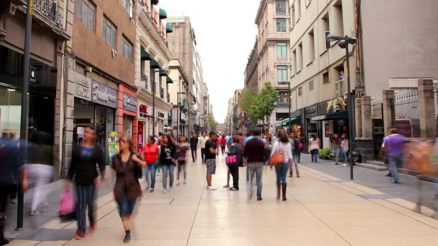Hyperlapse Madero street downtown Mexico City. People walking in Madero street one of the most representative streets in Mexico.