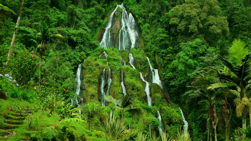 Waterfalls at Santa Rosa de Cabal, Colombia. Epic Waterfall background full hd and 4k. Natural beauty background. Ecology Concept.