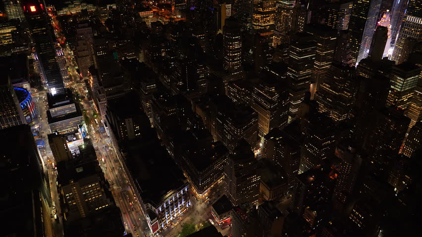 New York, May 2017. Night aerial looking down on midtown New York City, W33 and West 34 street. | Shutterstock HD Video #28310905