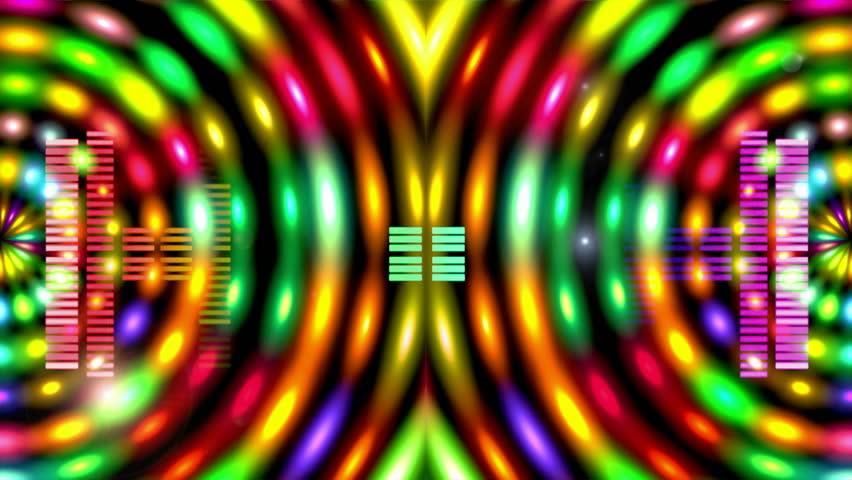 Led Colorful Fractal dance floor several shining Sound waves loop Dance lines  light Rainbow spectrum color Disco dancing electronic music background Circle audio equalizer Floodligh bulb spectrum box #2831164