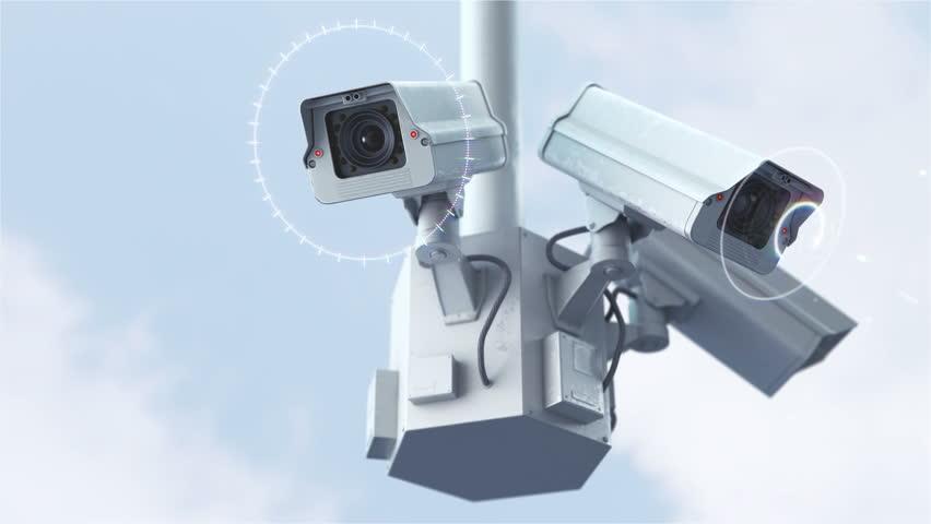 Futuristic Security Cameras Against Blue Stok Videosu (%100 ...