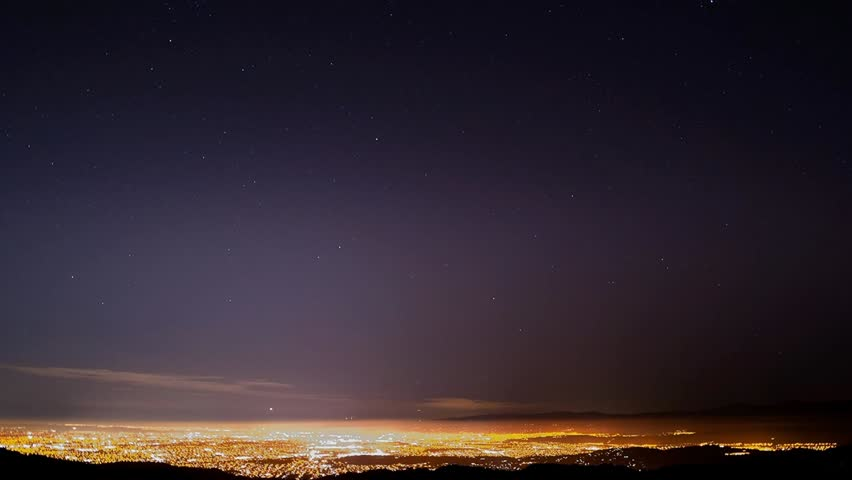 A night time-lapse of the stars and airplane traffic above Silicon Valley, California.