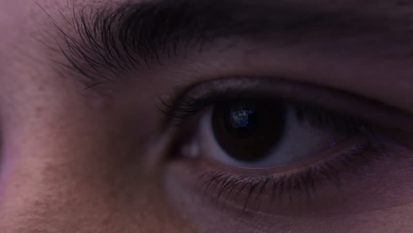 Night Closeup Of An Eye Looking At Monitor Sliding In Browser | Shutterstock HD Video #28327174
