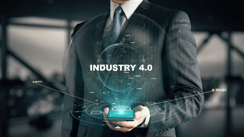Businessman with Industry 4.0 hologram concept Royalty-Free Stock Footage #28336222