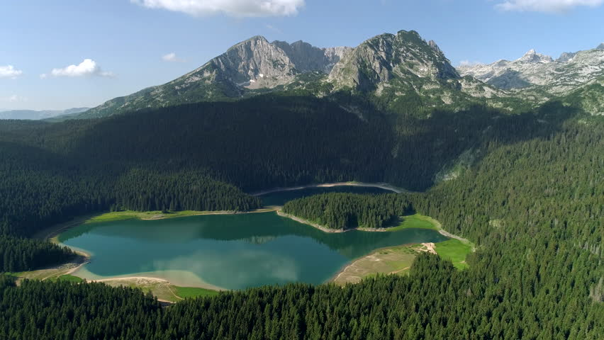 Aerial view of beautiful lake in Durmitor mountains national park. Montenegro