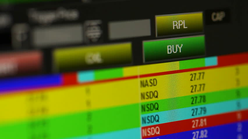 Buying Stock Shares Pressing on buy button. Purchasing a stock and viewing price table , level 2 ask and bid offers