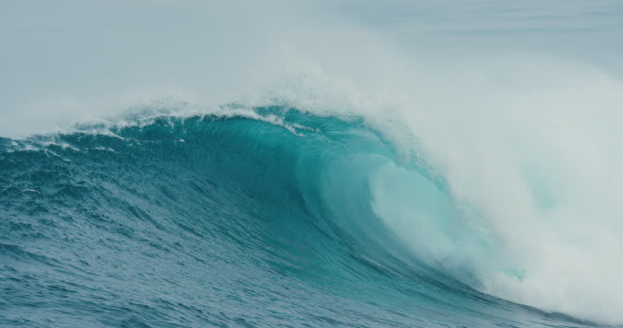Giant Blue Ocean Wave Breaking in Slow Motion | Shutterstock HD Video #28403932