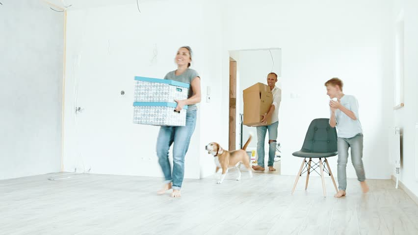Young family with beagle dog brings the boxes in new house