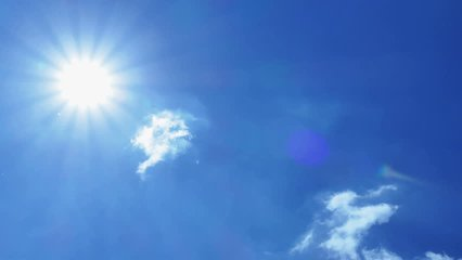 The afternoon summer sun shines on a beautiful blue sky with clouds, Global Warming - Climate Changes, 4 K Video Clip