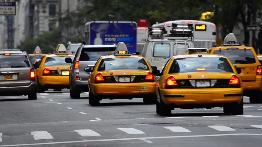 USA, New York, 5th Avenue, rush hour traffic, Taxis
