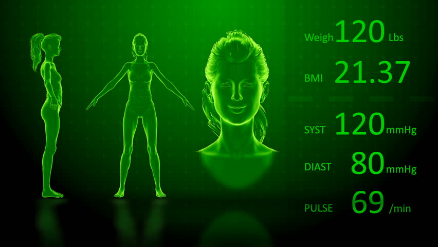 Simulation of a Fat Woman Losing Body Weight and BMI Index Computer X-Ray Screen Design 3D Animation