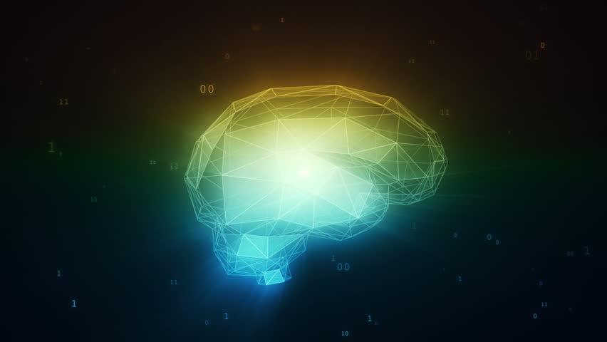 Digital artificial intelligence brain in cloud of binary data