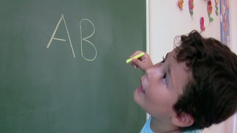 Preschool Student learning  alphabet