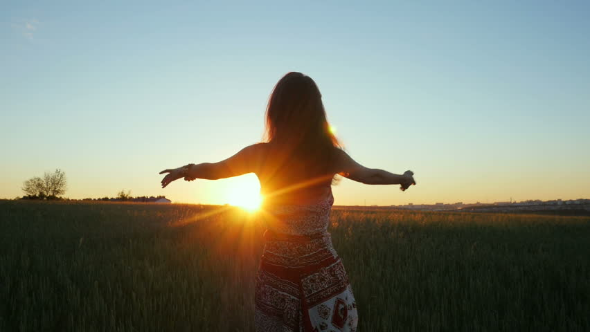 Beautiful woman stands at field during sunrise and raises her hands up | Shutterstock HD Video #28455496