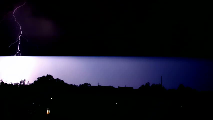 night sky with lightning and storm,video clip,Lightning Bolt Strike