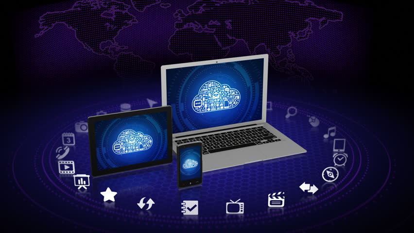 Camera zooms out of laptop screen with cloud computing concept on it   Shutterstock HD Video #2845864