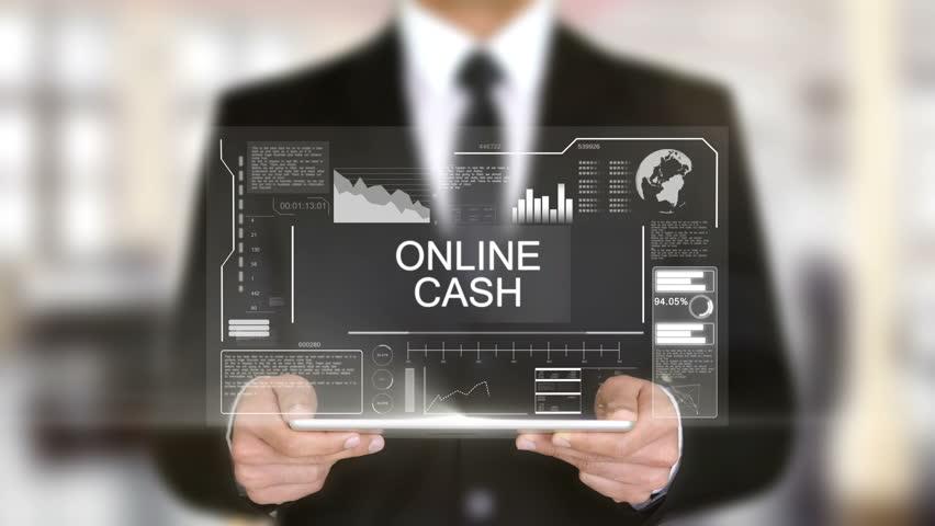 Online Cash, Hologram Futuristic Interface, Augmented Virtual Reality | Shutterstock HD Video #28459405