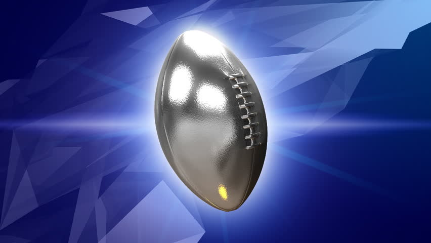 Animated silver superbowl nfl football ball 3d motion background HD - seamless loop