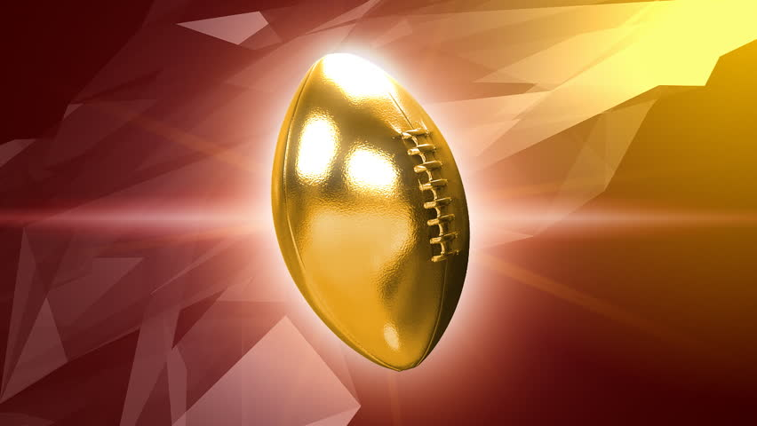 Animated gold superbowl nfl football ball 3d motion background HD - seamless loop