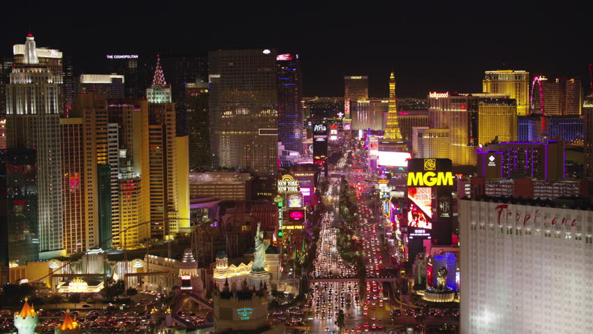 Las Vegas, Nevada circa-2017, Low angle fly over Las Vegas Strip at night. Shot with Cineflex and RED Epic-W Helium.