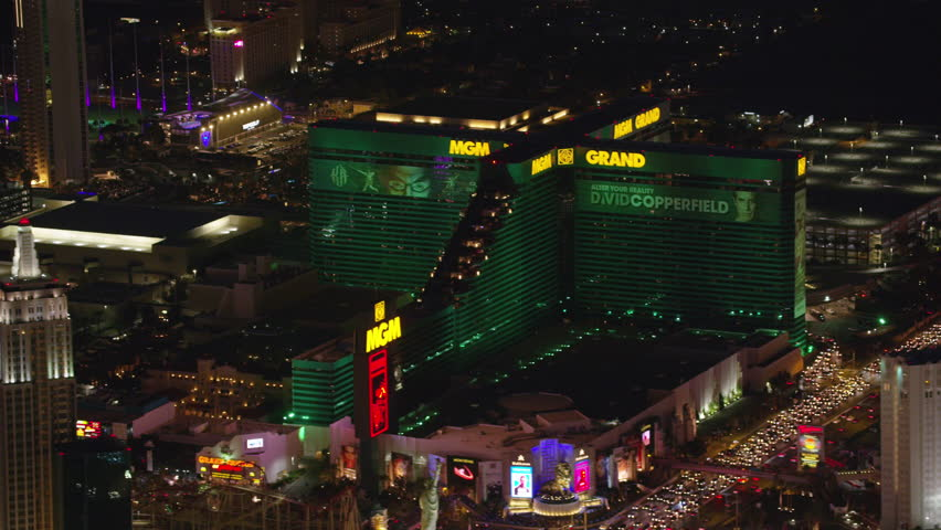 Las Vegas, Nevada circa-2017, Aerial view of the MGM Grand hotel and casino. Shot with Cineflex and RED Epic-W Helium.