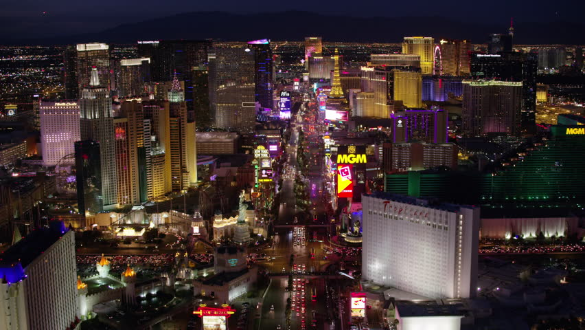 Las Vegas, Nevada circa-2017, Flying directly over the Las Vegas Strip. Shot with Cineflex and RED Epic-W Helium.