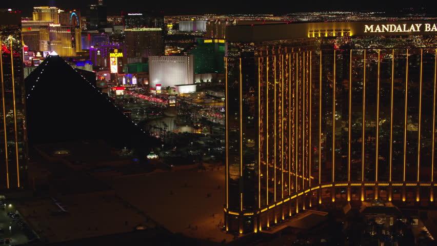 Las Vegas, Nevada circa-2017, Reveal Las Vegas Strip from Mandalay Bay. Shot with Cineflex and RED Epic-W Helium.