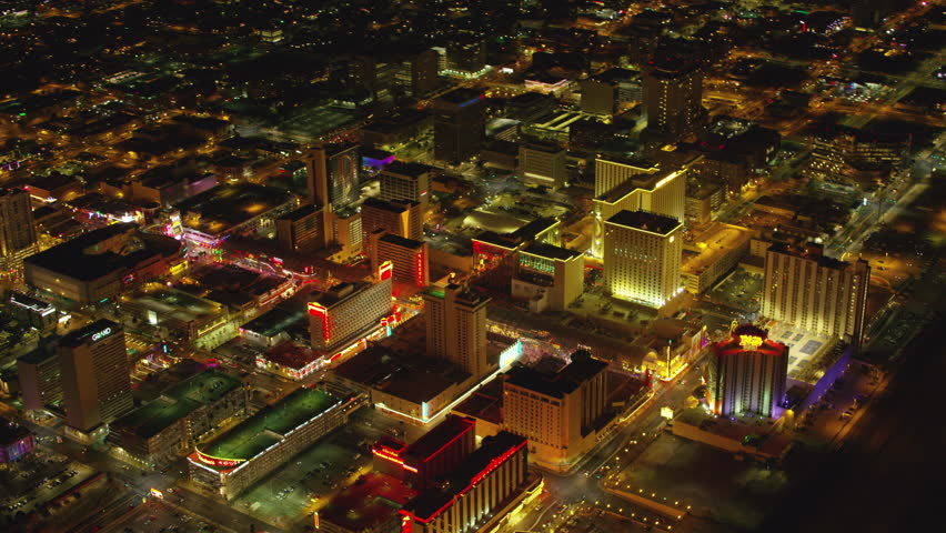 Las Vegas, Nevada circa-2017, Aerial view of downtown Freemont Street Las Vegas at night. Shot with Cineflex and RED Epic-W Helium.