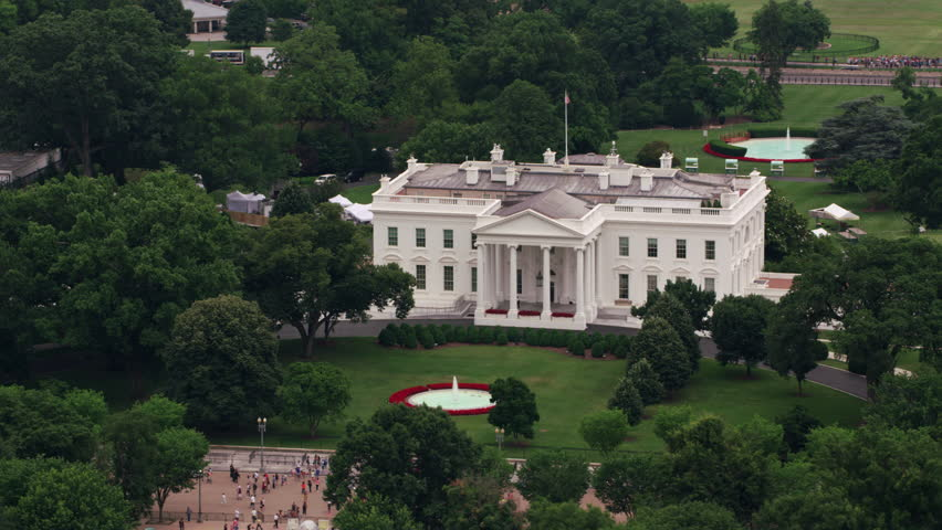 Washington, D.C. circa-2017, Aerial view of White House. Shot with Cineflex and RED Epic-W Helium. | Shutterstock HD Video #28498378