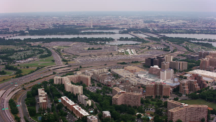 Washington, D.C. circa-2017, Wide aerial view of the Pentagon. Shot with Cineflex and RED Epic-W Helium.