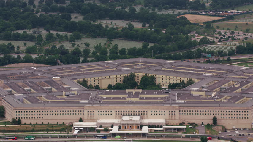 Washington, D.C. circa-2017, Close-up aerial view of the Pentagon. Shot with Cineflex and RED Epic-W Helium.