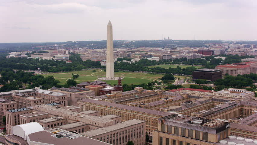 Washington, D.C. circa-2017, Aerial approach to Washington Monument. Shot with Cineflex and RED Epic-W Helium.