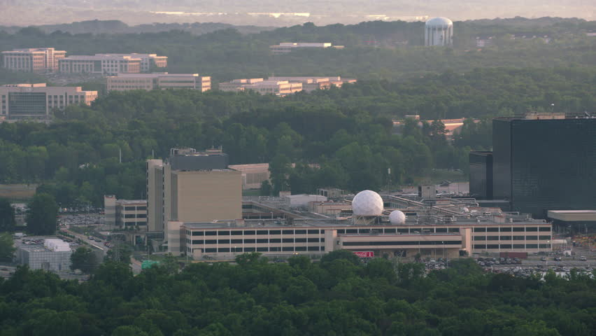 Washington, D.C. circa-2017, Aerial view of the National Security Agency (NSA) headquarters in Fort Meade. Shot with Cineflex and RED Epic-W Helium.