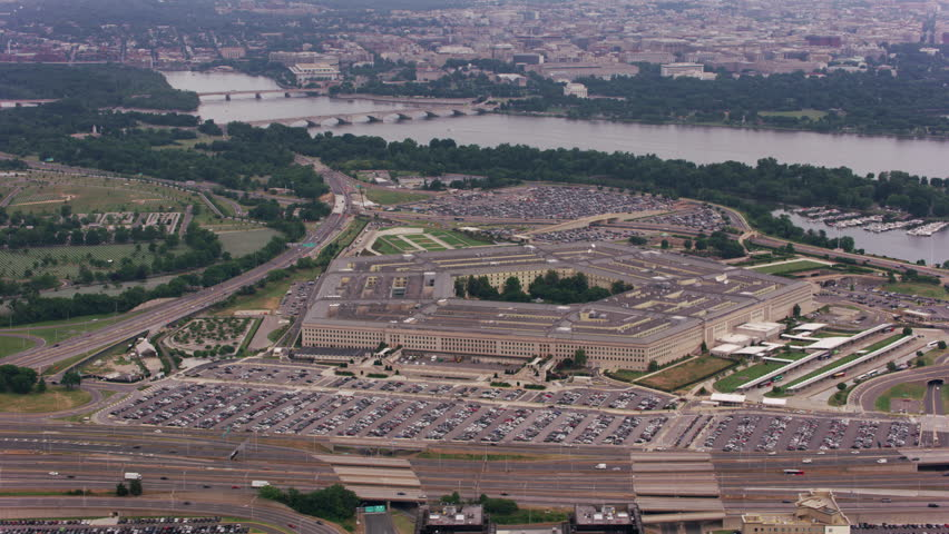 Washington, D.C. circa-2017, Aerial view of the Pentagon. Shot with Cineflex and RED Epic-W Helium.