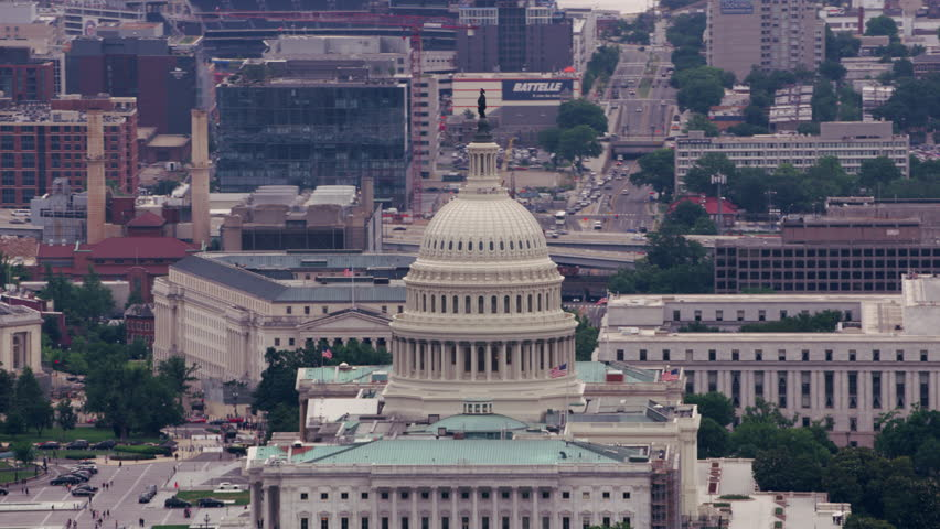 Washington, D.C. circa-2017, Aerial view of the US Capitol building. Shot with Cineflex and RED Epic-W Helium.