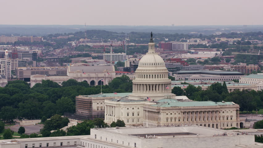 Washington, D.C. circa-2017, Aerial view of US Capitol building. Shot with Cineflex and RED Epic-W Helium. | Shutterstock HD Video #28498666