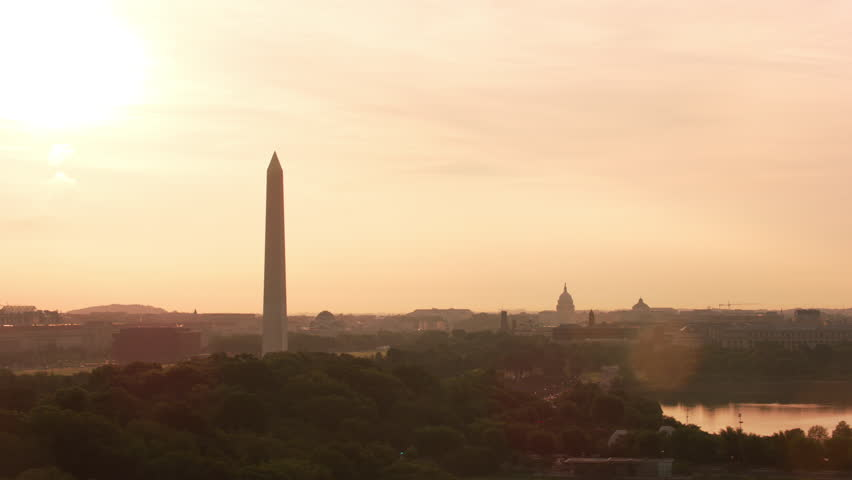 Washington, D.C. circa-2017, Aerial view of sunrise over Washington D.C. Shot with Cineflex and RED Epic-W Helium.