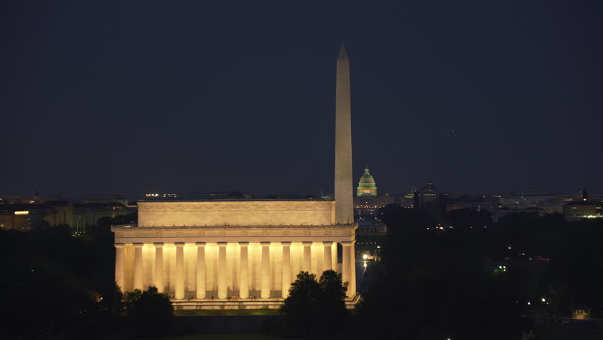 Washington, D.C. circa-2017, Aerial view of the Lincoln Memorial, Washington Monument and Capitol Building at dusk. Shot with Cineflex and RED Epic-W Helium.