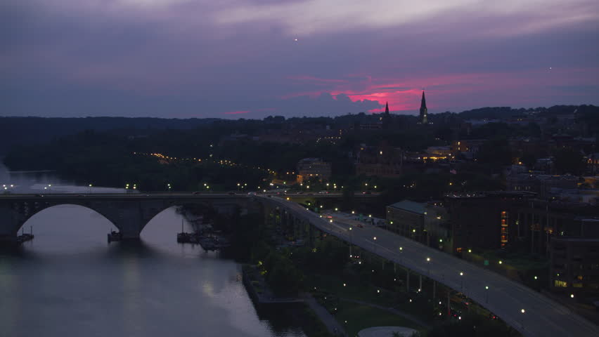 Washington, D.C. circa-2017, Aerial approach to Georgetown University at sunset. Shot with Cineflex and RED Epic-W Helium.