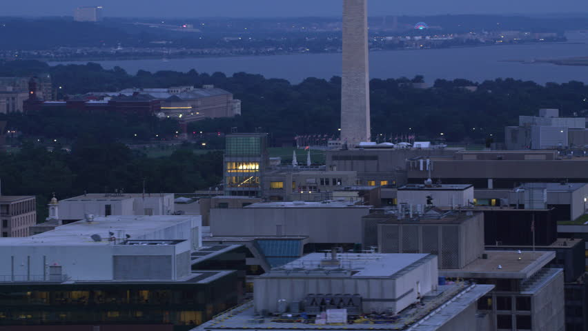 Washington, D.C. circa-2017, Aerial reveal of White House from 16th Street. Shot with Cineflex and RED Epic-W Helium.