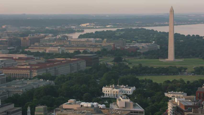 Washington, D.C. circa-2017, Aerial view of White House, Washington Monument and Jefferson Memorial. Shot with Cineflex and RED Epic-W Helium.