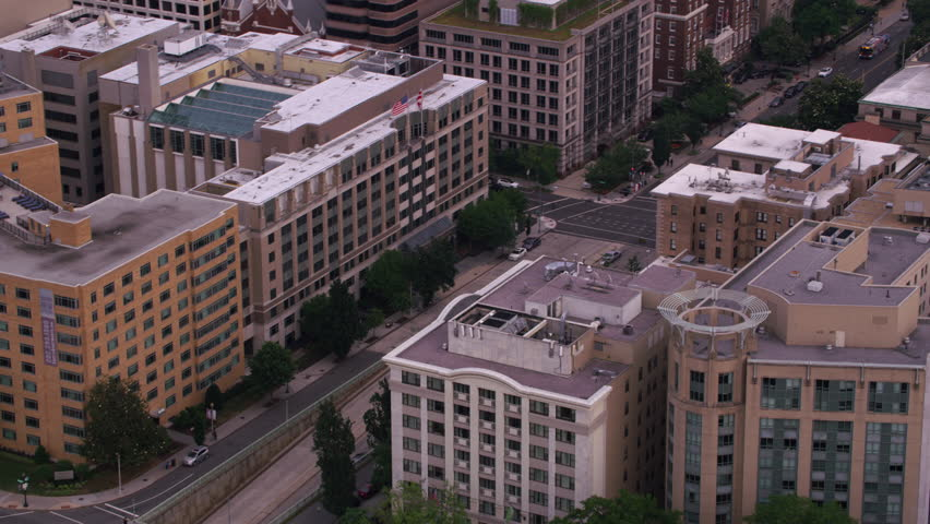 Washington, D.C. circa-2017, Aerial view looking up 16th Street to White House. Shot with Cineflex and RED Epic-W Helium.