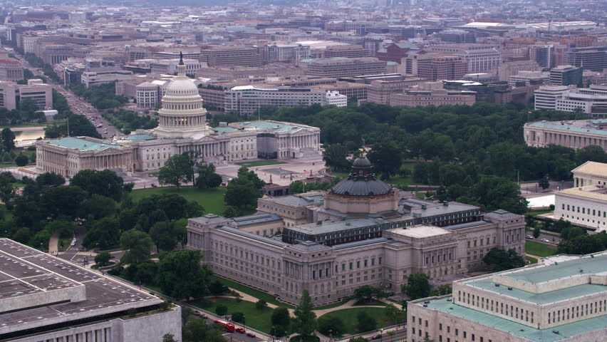 Washington, D.C. circa-2017, Aerial view of the Library of Congress and Capitol. Shot with Cineflex and RED Epic-W Helium.