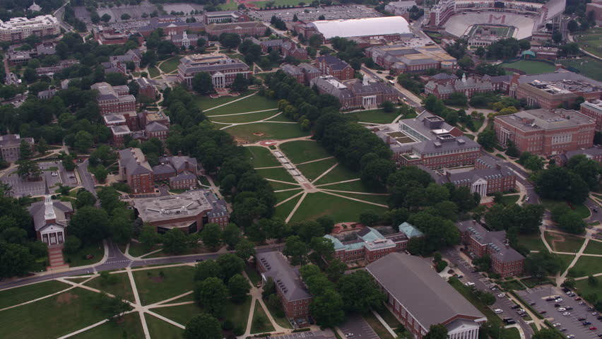 Washington, D.C. circa-2017, Aerial view of University of Maryland campus. Shot with Cineflex and RED Epic-W Helium.