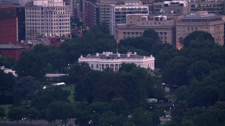 Washington, D.C. circa-2017, Aerial view of White House with Washington Monument in foreground. Shot with Cineflex and RED Epic-W Helium.