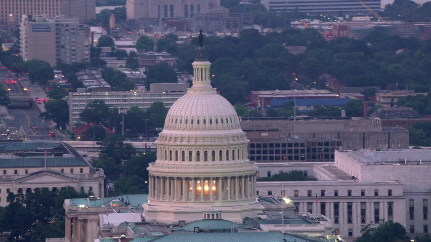 Washington, D.C. circa-2017, Close-up aerial view of the Capital Dome and Washington D.C. Shot with Cineflex and RED Epic-W Helium. | Shutterstock HD Video #28499098